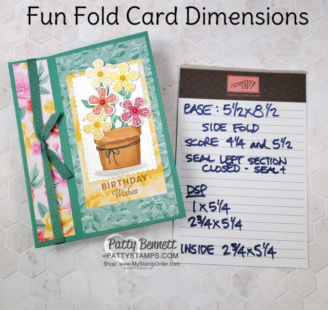 Dimensions for Easy Fun Fold card featuring Stampin' UP! Basket of Blooms stamp set. Flowers for Every Season paper and Stampin' Blends coloring. by Patty Bennett www.PattyStamps.com