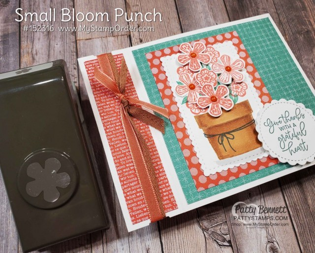 Side Fold Basket of Blooms card featuring Stampin' UP! set with Small Blooms punch and Stampin' Blends markers, by Patty Bennett www.PattyStamps.com