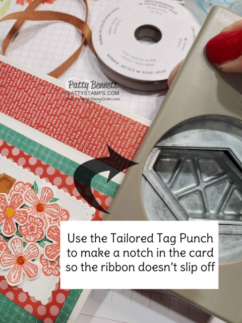 Ribbon Tip with Tailored Tag Punch for Side Fold Basket of Blooms card featuring Stampin' UP! set with Small Blooms punch and Stampin' Blends markers, by Patty Bennett www.PattyStamps.com