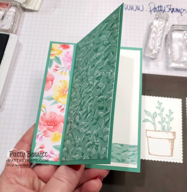 Easy Fun Fold card idea featuring Stampin' UP! Basket of Blooms stamp set.  Flowers for Every Season paper, Just Jade ribbon  and Stampin' Blends coloring. by Patty Bennett www.PattyStamps.com