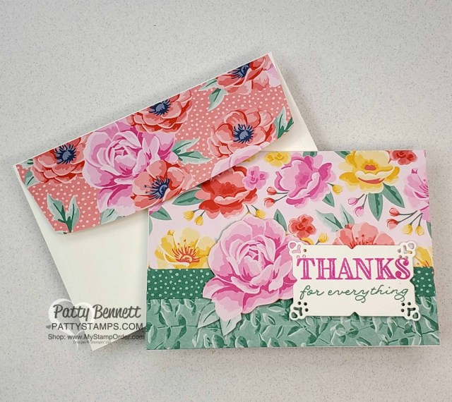 Flowers for Every Season Floral thank you note card idea with Stampin' UP! papercrafting supplies, by Patty Bennett www.PattyStamps.com
