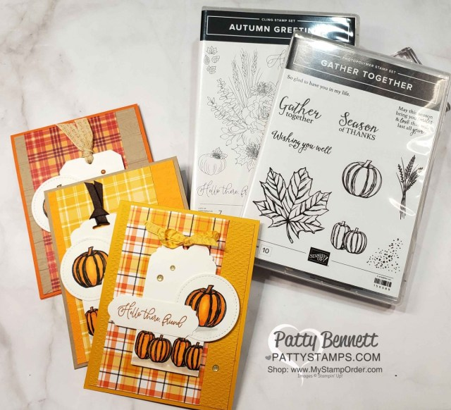 Fall Pumpkin Card ideas featuring Plaid Tidings designer paper, Gather Together and Autumn Greetings stamp sets, by Patty Bennett www.PattyStamps.com