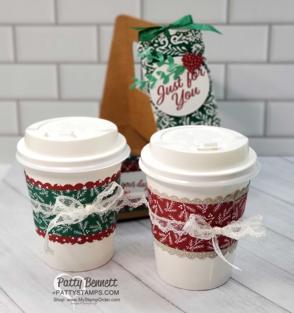 Mini Coffee Cup Carrier from Stampin' Up! with Classic Christmas designer paper and Curvy Celebrations bundle and mini coffee cups. by Patty Bennett www.PattyStamps.com