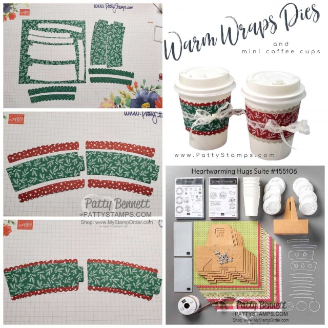 Heartwarming Hugs suite!  Mini Coffee Cup Carrier from Stampin' Up! with Classic Christmas designer paper and Curvy Celebrations bundle and mini coffee cups. by Patty Bennett www.PattyStamps.com