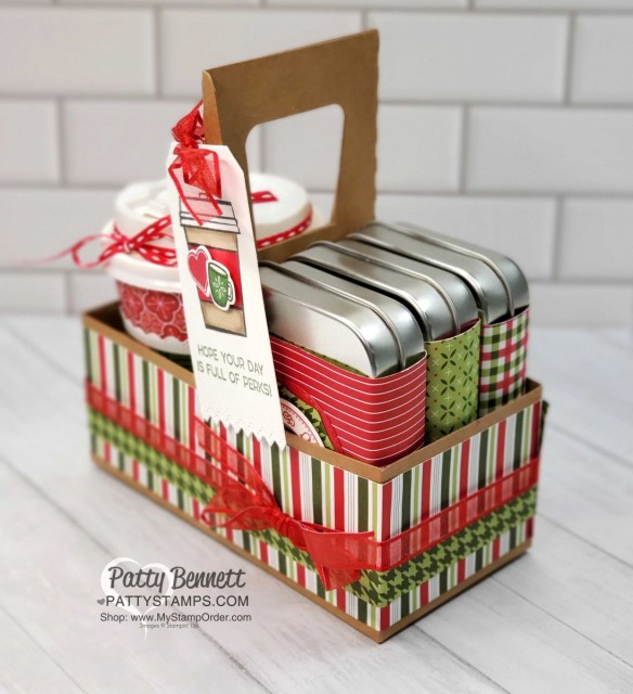 Mini Coffee Cup Carrier from Stampin' Up! with Heartwarming Hugs designer paper and decorated rectangle tins, by Patty Bennett www.PattyStamps.com