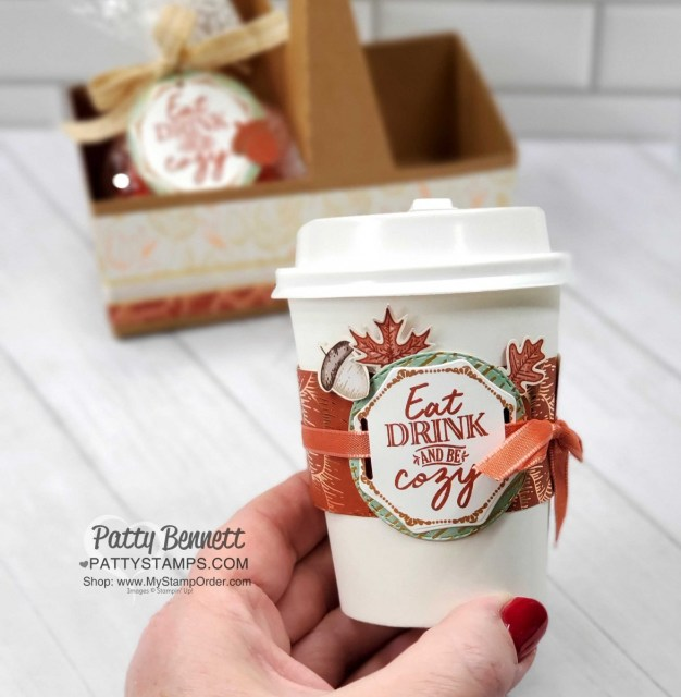 Mini Coffee Cup decorated with Stampin' Up! Gilded Autumn designer paper, and Autumn Punch pack images. Perfect for Thanksgiving hostess gift. www.PattyStamps.com