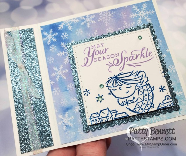 Snowflake Splendor designer paper card idea featuring side fold idea and Flight of Fancy stamp set. Stampin' UP! Christmas Card supplies www.PattyStamps.com