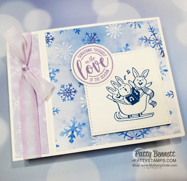 Snowflake Splendor designer paper card idea featuring side fold idea and Warm & Toasty stamp set. Stampin' UP! Christmas Card supplies www.PattyStamps.com