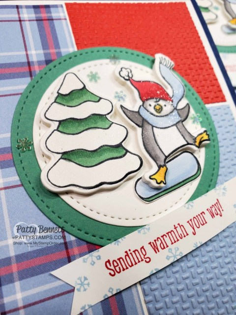 Freezin Fun Bundle from Stampin' Up! colored with Stampin' Blends markers and Wink of Stella glimmer pen!!  Plaid Tidings and Wrapped in Texture embossing folder background is warm and cozy!  www.PattyStamps.com