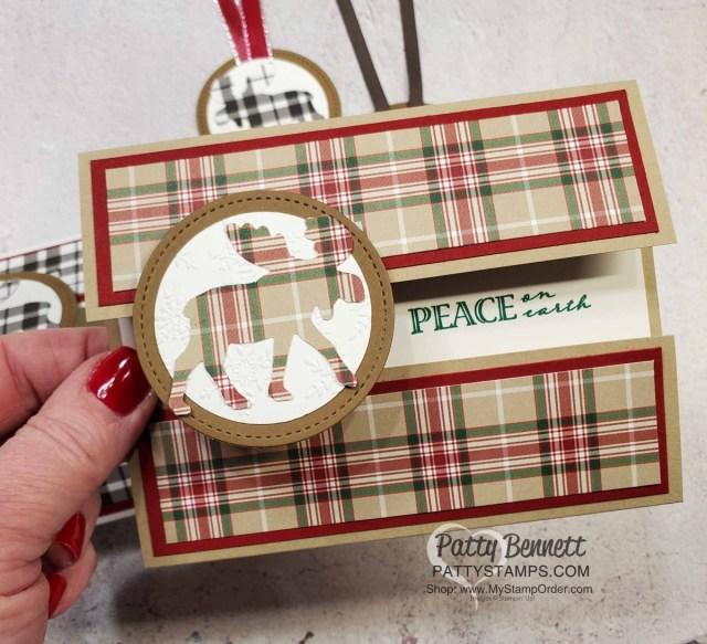 Stampin' Up! Moose Punch Christmas cards and tags featuring Plaid Tidings designer paper. www.PattyStamps.com