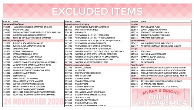 Excluded items from the Merry & Bright Online Extravaganza Stampin' UP! Nov. 2020 Sale. www.PattyStamps.com