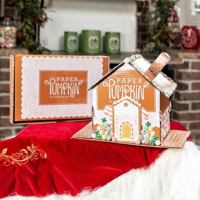 Stampin' UP! November 2020 Paper Pumpkin kit - gingerbread house. www.PattyStamps.com