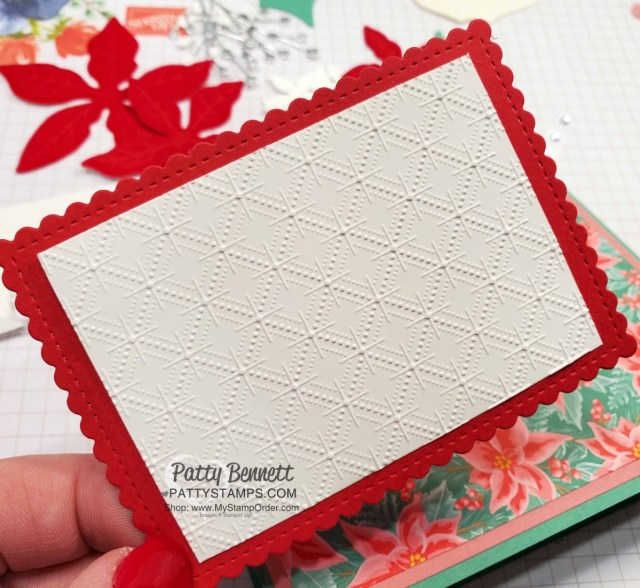 Red Velvet Poinsettia Dies Christmas Card Idea featuring Dainty Diamonds embossing folder and Stitched so Sweetly rectangle die. www.PattyStamps.com