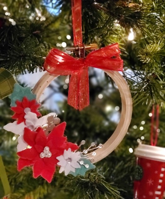 Handmade Christmas Tree Ornament featuring Felt die cut Poinsettias from Stampin Up! by Cindee