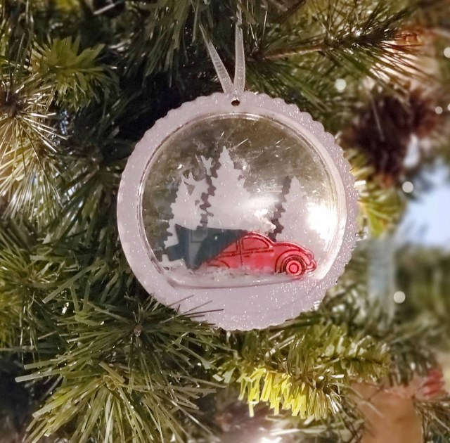 Handmade Christmas Tree Ornament featuring Snow Globe Domes and die cut images from  Stampin Up! by Christine