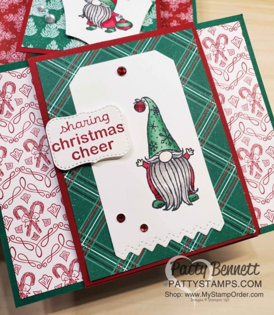 Stampin UP! Gnome for the Holidays Christmas cheer card featuring Stampin Blends coloring and 'Tis the Season designer paper. www.PattyStamps.com