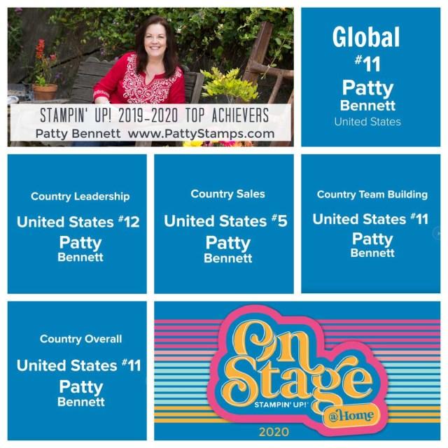 Patty Bennett Top Achiever Stampin' UP! demonstrator 2019-2020. www.PattyStamps.com
