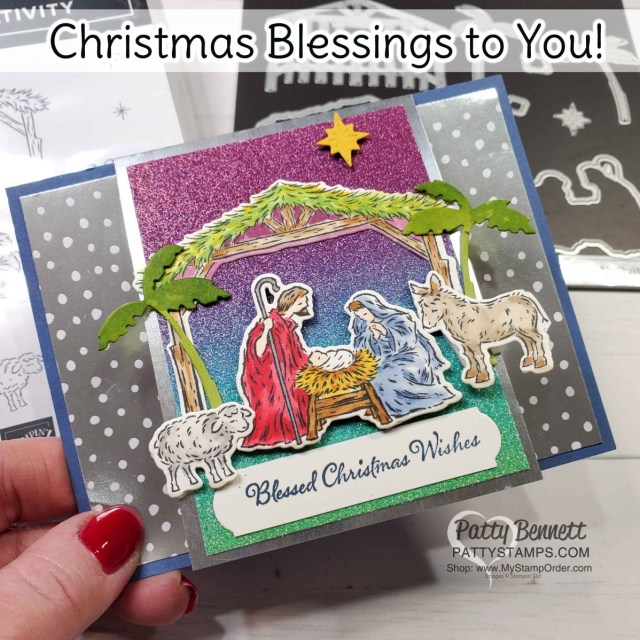 Christmas Card idea featuring Stampin' Up! Peaceful Nativity bundle, Rainbow Glimmer paper and Stampin' Blends marker coloring by Patty Bennett www.PattyStamps.com