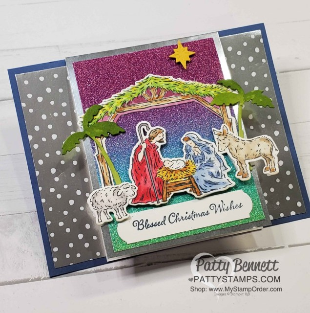 Christmas Card idea featuring Stampin' Up! Peaceful Nativity stamp set, Rainbow Glimmer paper and Stampin' Blends marker coloring by Patty Bennett www.PattyStamps.com