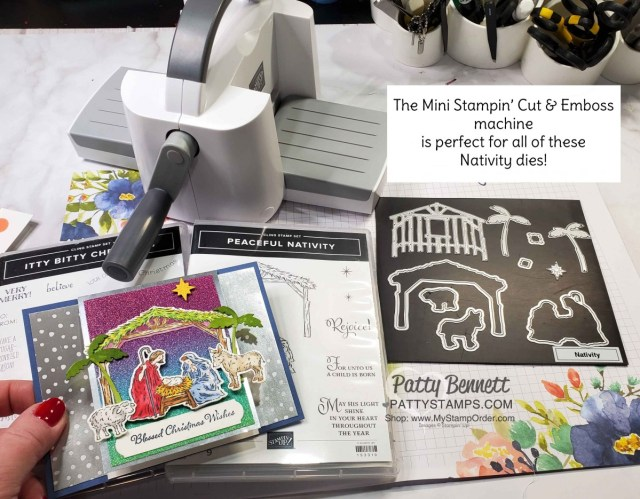 Use the new Mini Stampin' Cut & Emboss machine for smaller dies like the Peaceful Nativity bundle from Stampin' Up!. www.PattyStamps.com