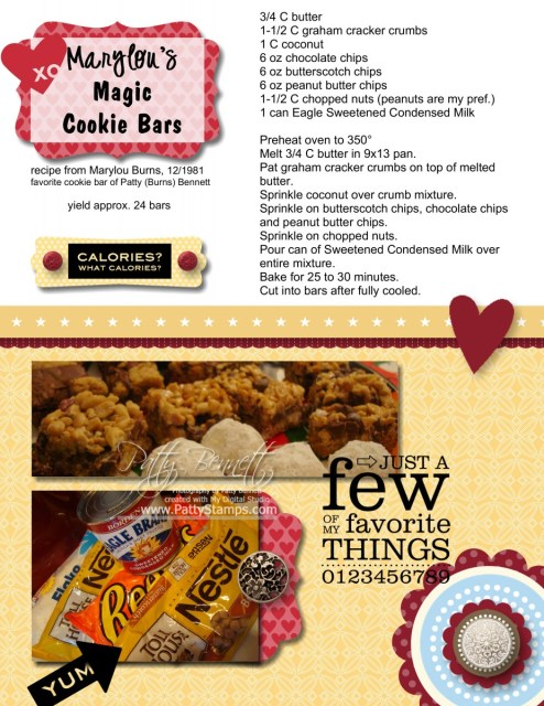 Marylou's Magic cookie bars recipe from Marylou Burns to Patty Bennett. Favorite Christmas Cookies!