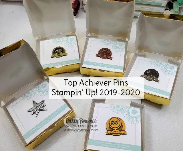 Pins for Stampin' UP! top achievers 2019-2020 for sales, leadership, and team building. www.PattyStamps.com Patty Bennett Top Achiever.