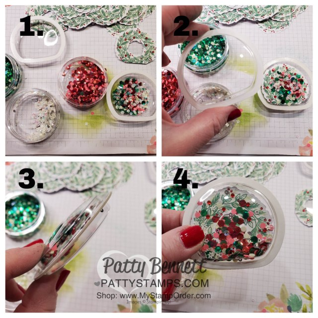 How to Make a Shaker Christmas Ornament featuring Stampin' Up! Paper Pumpkin wreath, sequins and shaker domes, by Patty Bennett www.PattyStamps.com