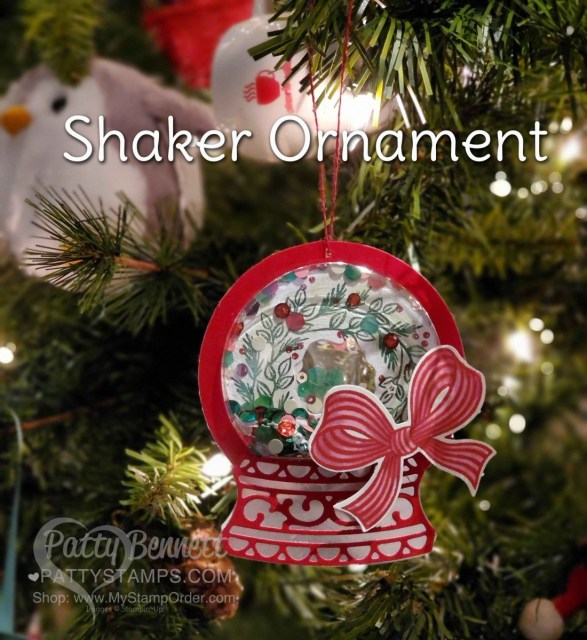 Shaker Christmas Ornament featuring Stampin' Up! Paper Pumpkin wreath, sequins and shaker domes, by Patty Bennett www.PattyStamps.com