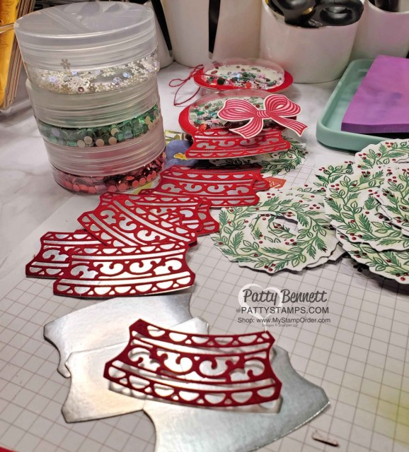 Red Velvet and Silver Foil die cuts for the base of my Shaker Christmas Ornament featuring Stampin' Up! Paper Pumpkin wreath, sequins and shaker domes, by Patty Bennett www.PattyStamps.com