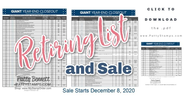 Stampin UP! 2020 Holiday Catalog retiring list and close out sale. www.PattyStamps.com