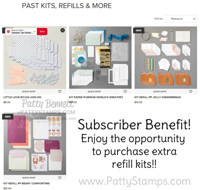 Monthly crafting kit refills available to Paper Pumpkin subscribers - while supplies last!  www.PattyStamps.com