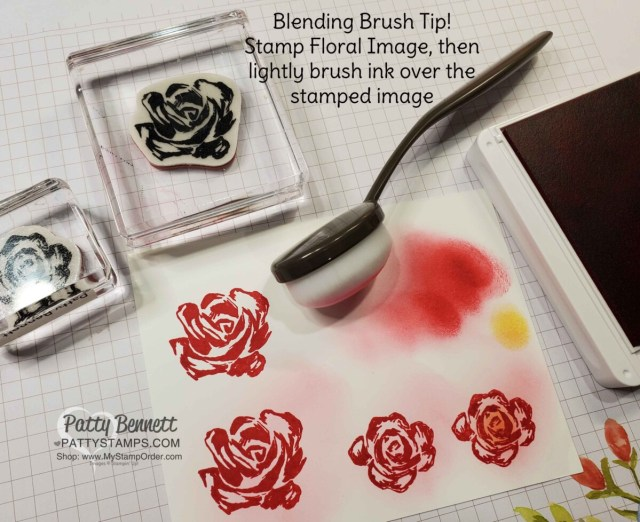 Blending Brush Tip for Brushed Blooms Bundle from Stampin' Up! www.PattyStamps.com