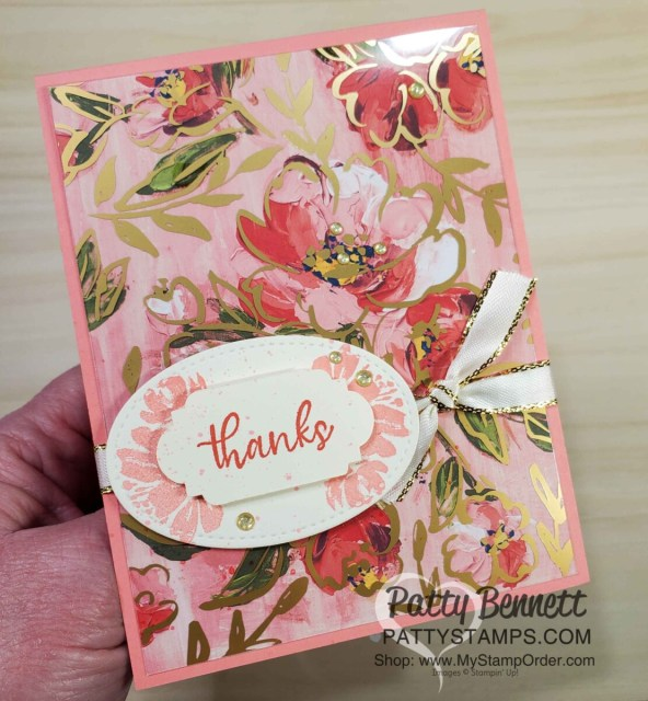 How to use the Golden Garden acetate overlay on Fine Art Floral designer paper to make a card with Flirty Flamingo cardstock! Stampin' UP! card making supplies, www.PattyStamps.com