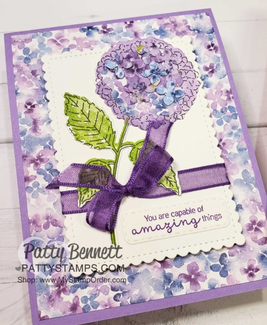 Hydrangea Hill Suite card idea with Highland Heather, from Patty Bennett featuring Stampin' Up! 2021 mini catalog stamps, paper and accessories. www.PattyStamps.com