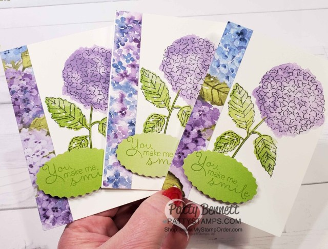 Hydrangea Haven stamp set note card ideas featuring Hydrangea Hill designer paper and Oh So Ombre Sale-a-Bration paper. www.PattyStamps.com