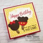 Stampin Up Ice Cream Cone builder punch creates cute Mickey & Minnie birthday card ice cream treats. www.PattyStamps.,com