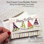 Ice Cream Cone Builder punch makes party hats for fun birthday cards! Note card idea with Stampin