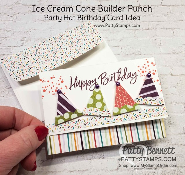 Ice Cream Cone Builder punch makes party hats for fun birthday cards! Note card idea with Stampin' Up! card making supplies and Ice Cream Corner designer paper by Patty Bennett www.PattyStamps.com