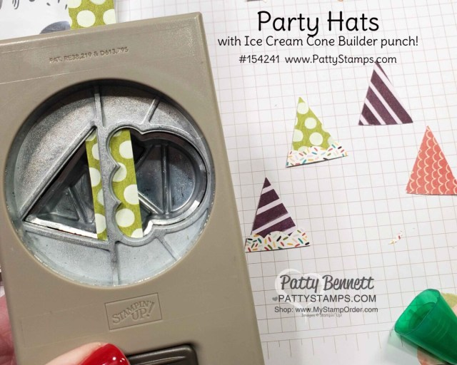Ice Cream Cone Builder punch makes party hats for fun birthday cards!  Note card idea with Stampin' Up! Ice Cream Corner designer paper by Patty Bennett www.PattyStamps.com