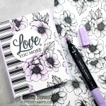 True Love Designer paper card - quick and simple. Color flowers with Purple Posy Stampin