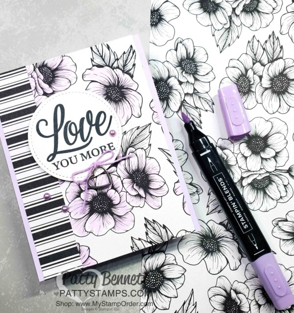 True Love Designer paper card - quick and simple. Color flowers with Purple Posy Stampin' Blends marker. www.PattyStamps.com