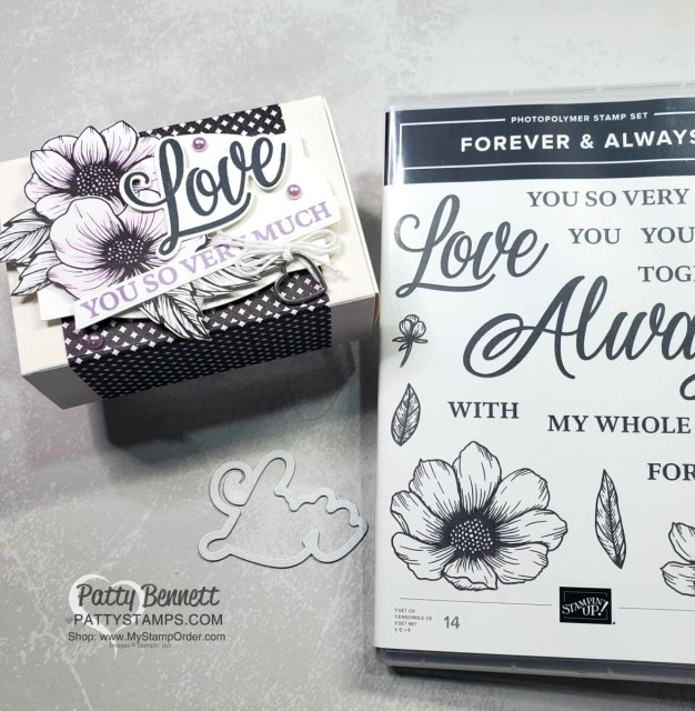 True Love Designer paper Treat Box- quick and simple. Color flowers with Purple Posy Stampin' Blends marker. www.PattyStamps.com