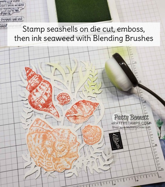 Using Blending Brushes on Friends are like Seashells bundle and Seashells embossing folder focal point for my card. www.PattyStamps.com