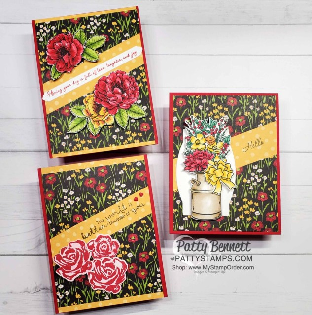 Split Card Idea using the Stampin' Up! paper trimmer and Flower & Field designer paper. Color the images with Stampin' Blends Markers. Card idea by Patty Bennett www.PattyStamps.com