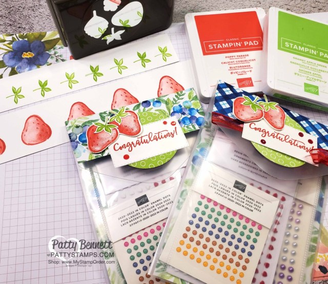 Luv 2 Stamp Group Prize Patrol and Promotion gifts. Repurpose and Reuse empty Stampin' Up! Die Envelopes for gift packaging.  Sweet Strawberry Bundle and Berry Blessings bundle papercrafting supplies. www.PattyStamps.com