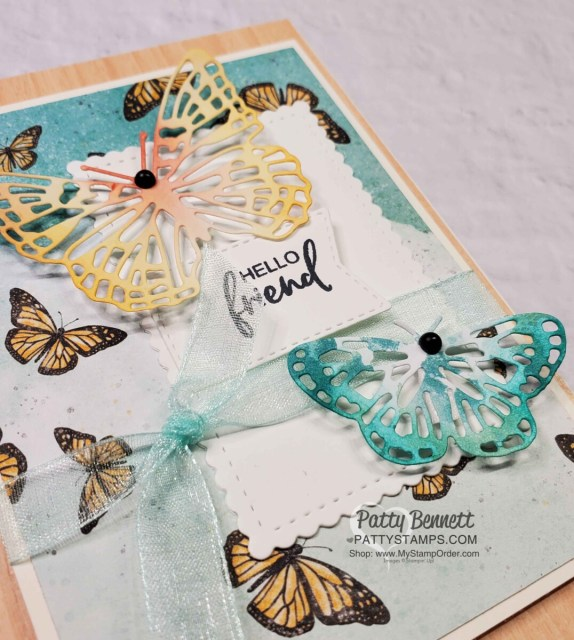 Butterfly Brilliance stamp set and die bundle and Natural Touch woodgrain paper from Stampin' UP! Die cut Butterfly Bijou designer paper - card idea by Patty Bennett