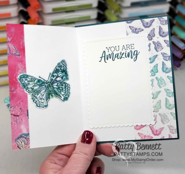 Butterfly Brilliance stamp set and die bundle from Stampin' UP! Stamp directly on Butterfly Bijou designer paper - card idea by Patty Bennett