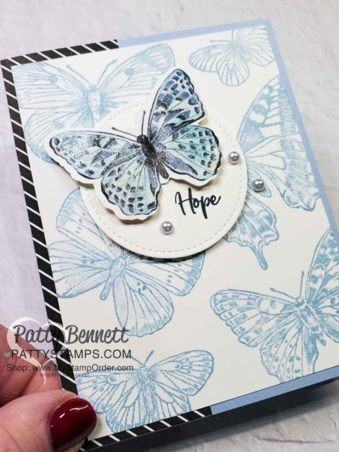 Butterfly Brilliance stamp set and die bundle from Stampin' UP! Die cut Butterfly Bijou designer paper and stamp butterfly background - card idea by Patty Bennett