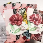 Art Gallery floral bundle note cards featuring Oh So Ombre and True Love designer paper colored with Blending Brushes. by Patty Bennett