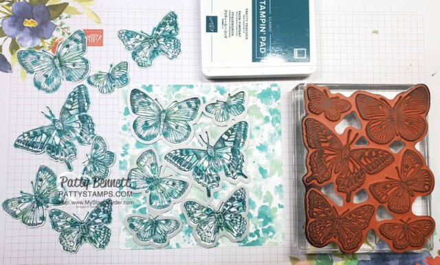 Stamp the Butterfly Brilliance stamp onto the Butterfly Bijou designer paper and die cut! That's it! www.PattyStamps.com